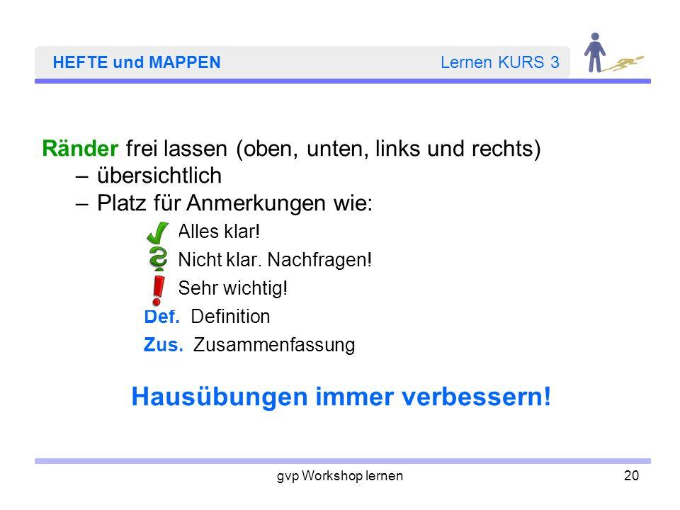 HEFTE und MAPPEN Lernen KURS 3