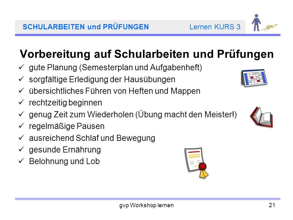 SCHULARBEITEN und PRÜFUNGEN Lernen KURS 3