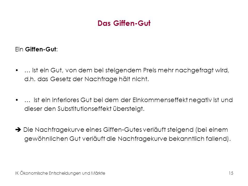 Das Giffen-Gut Ein Giffen-Gut: