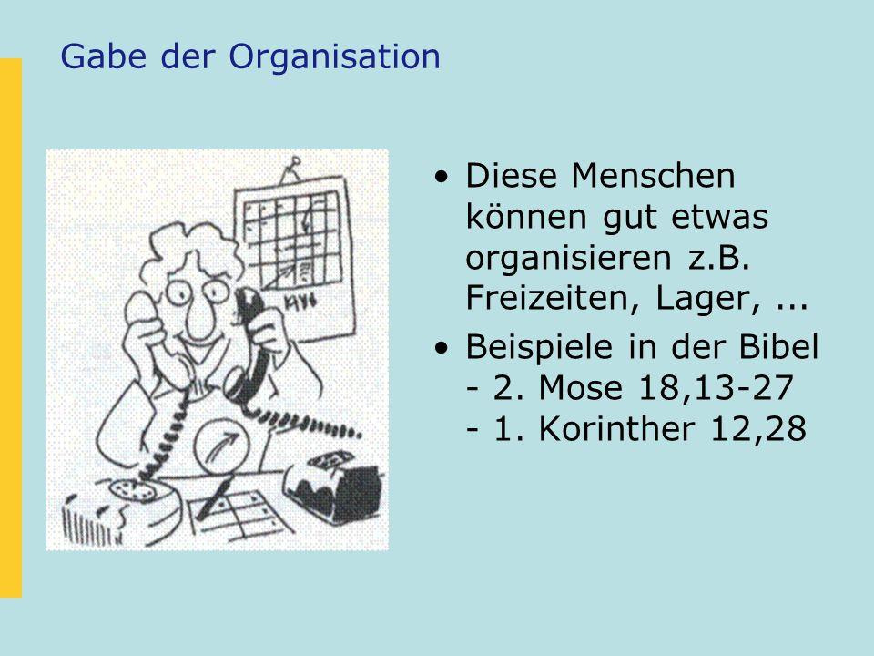 Gabe der Organisation Diese Menschen können gut etwas organisieren z.B. Freizeiten, Lager, ...
