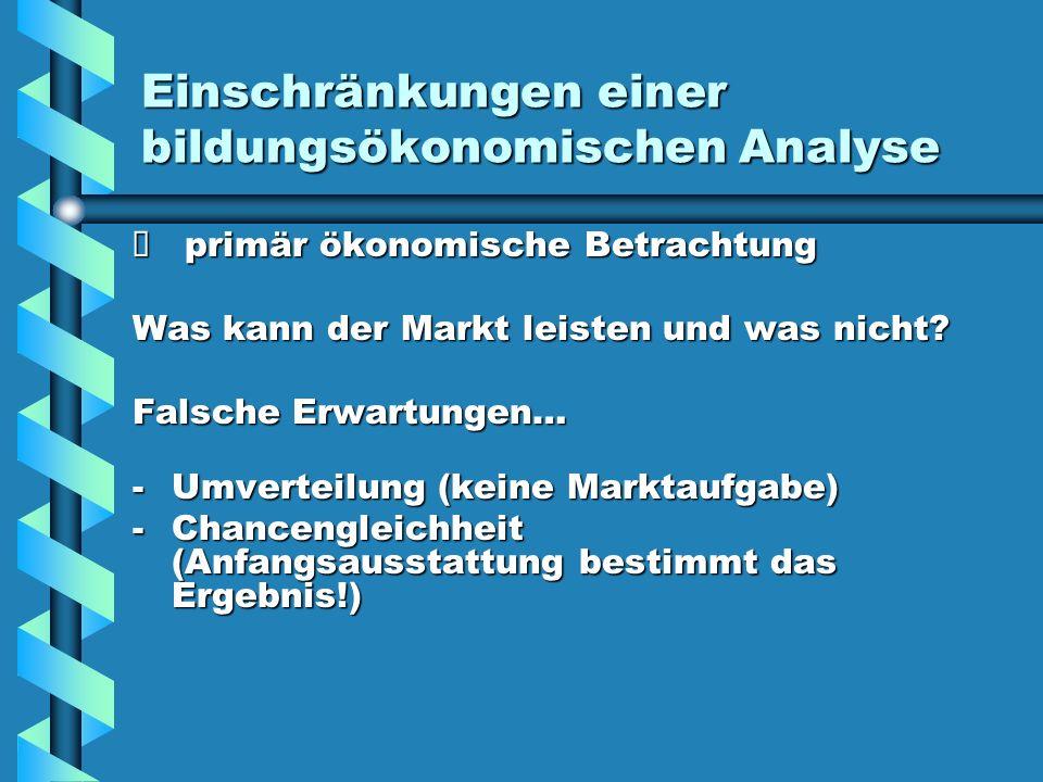 Einschränkungen einer bildungsökonomischen Analyse