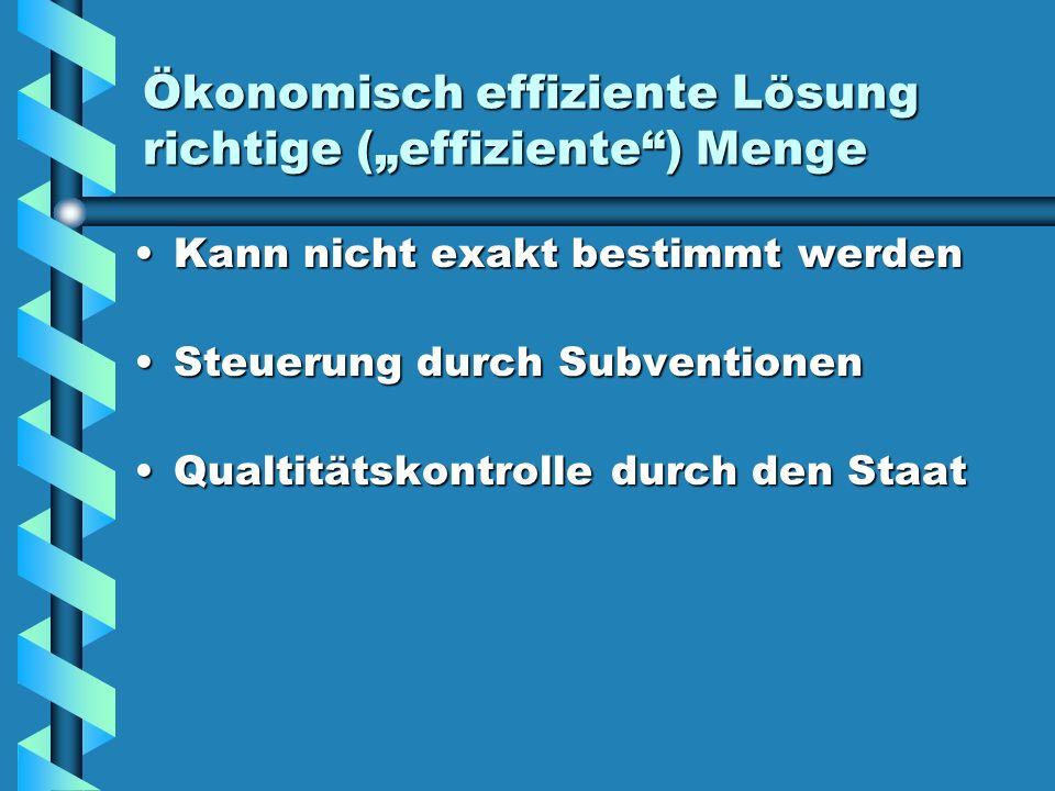"""Ökonomisch effiziente Lösung richtige (""""effiziente ) Menge"""