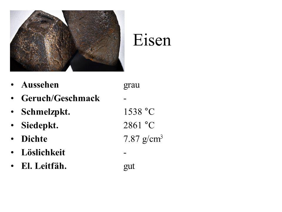 Eisen Aussehen grau Geruch/Geschmack - Schmelzpkt. 1538 °C