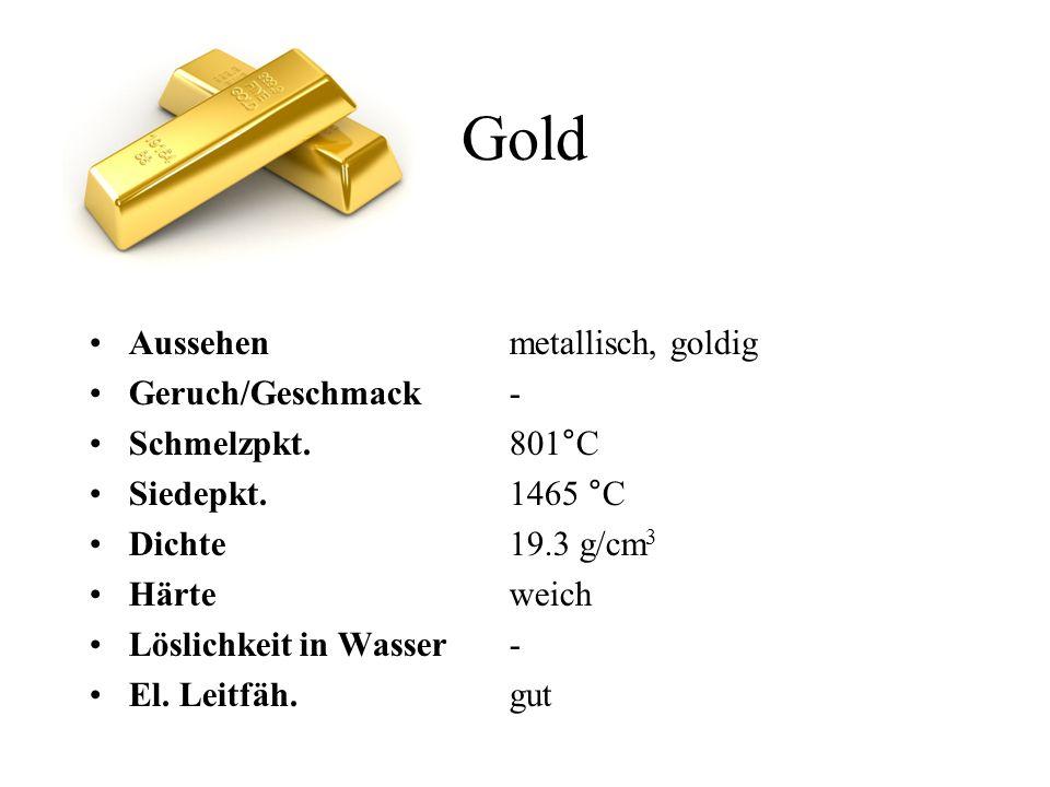 Gold Aussehen metallisch, goldig Geruch/Geschmack - Schmelzpkt. 801°C