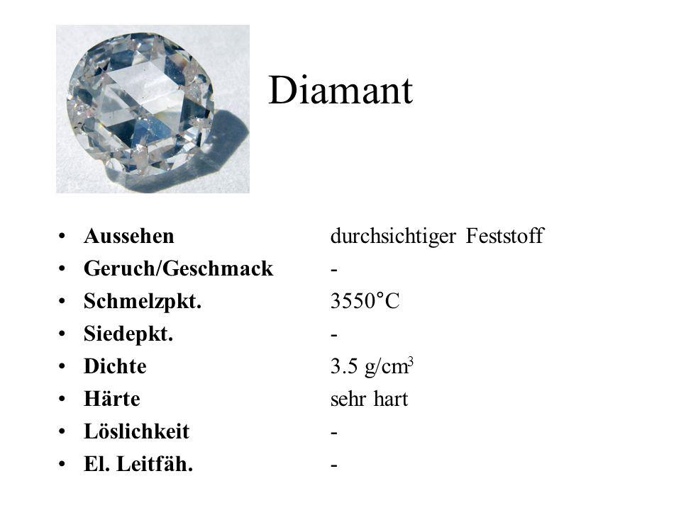 Diamant Aussehen durchsichtiger Feststoff Geruch/Geschmack -