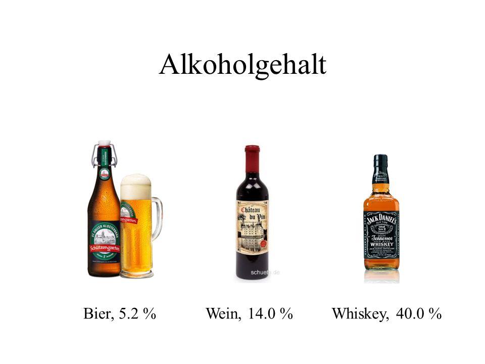 Alkoholgehalt Bier, 5.2 % Wein, 14.0 % Whiskey, 40.0 %