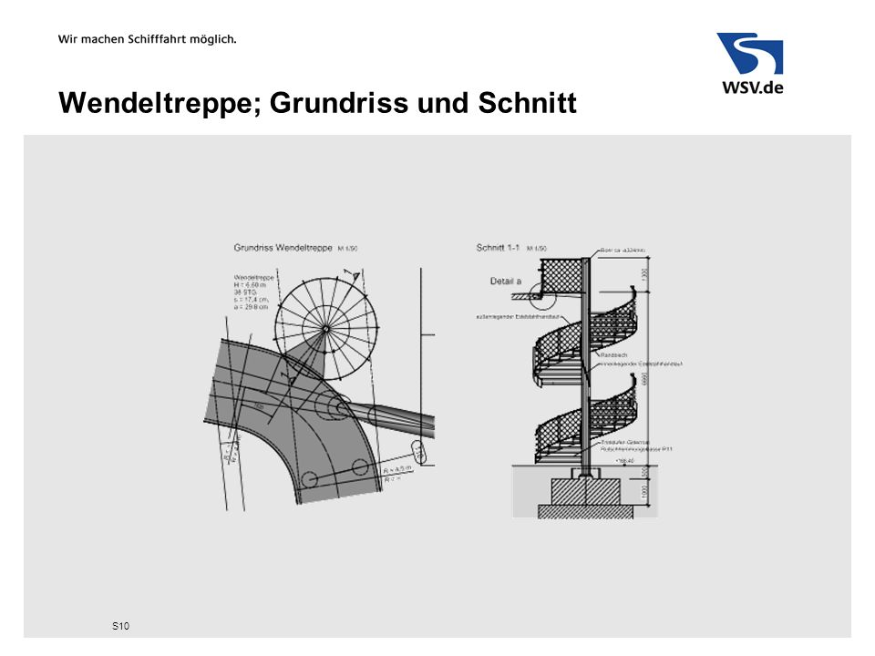 Wendeltreppe; Grundriss und Schnitt