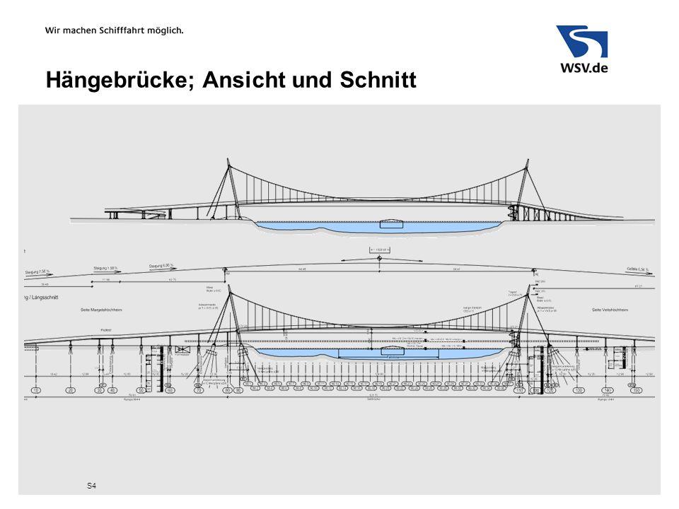 Hängebrücke; Ansicht und Schnitt