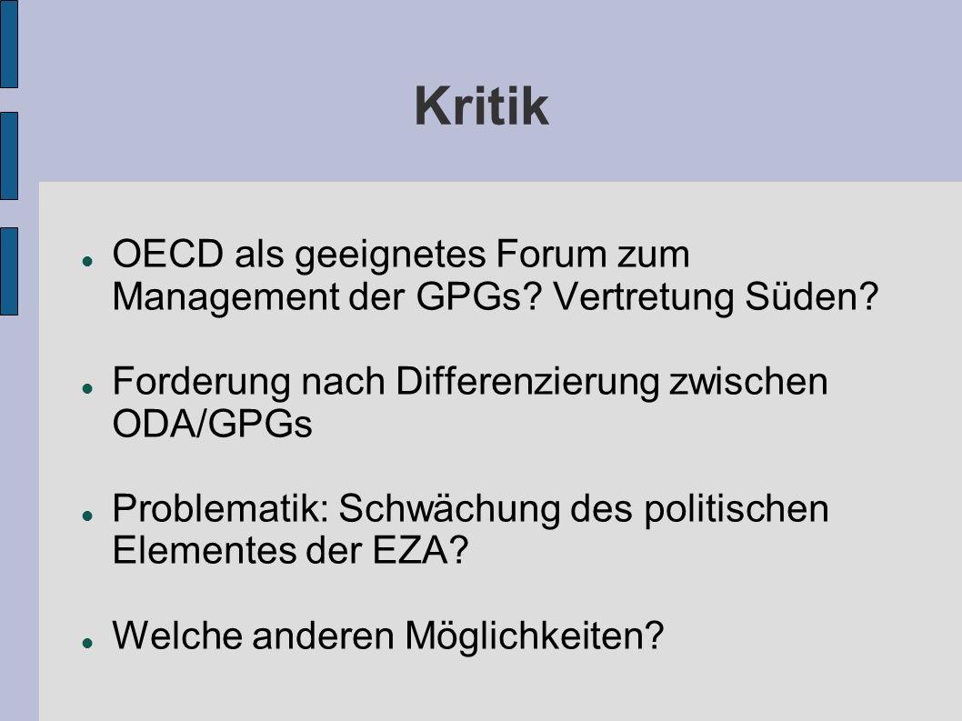 Kritik OECD als geeignetes Forum zum Management der GPGs Vertretung Süden Forderung nach Differenzierung zwischen ODA/GPGs.
