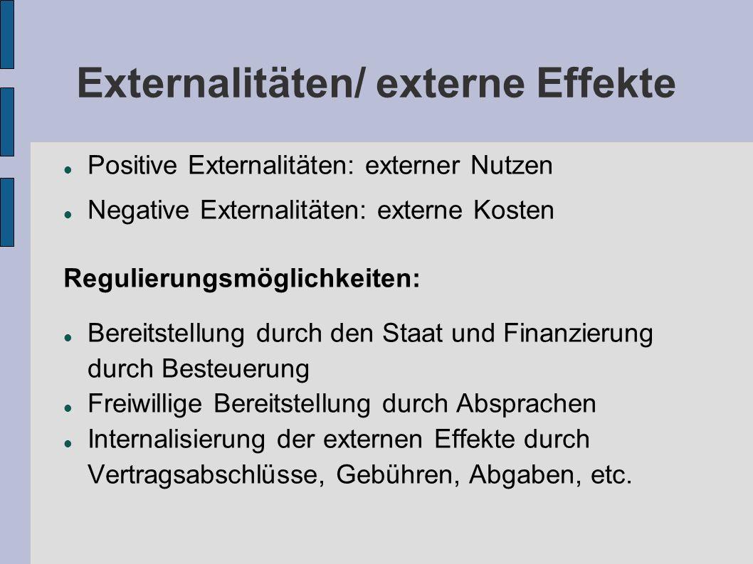 Externalitäten/ externe Effekte