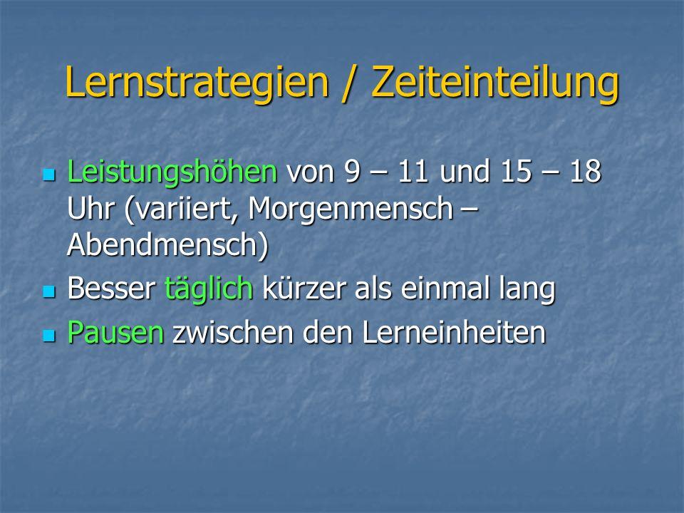 Lernstrategien / Zeiteinteilung