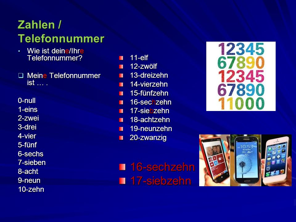 Zahlen / Telefonnummer