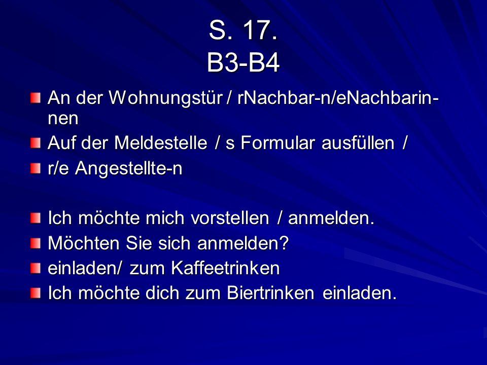 S. 17. B3-B4 An der Wohnungstür / rNachbar-n/eNachbarin-nen
