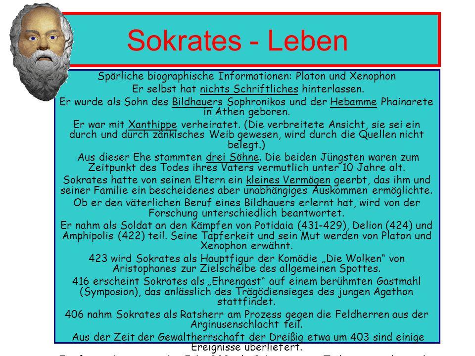 Sokrates - Leben Spärliche biographische Informationen: Platon und Xenophon. Er selbst hat nichts Schriftliches hinterlassen.
