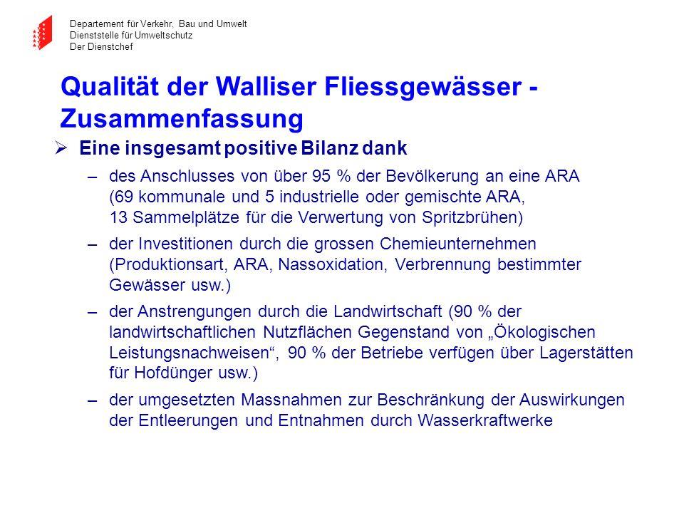 Qualität der Walliser Fliessgewässer - Zusammenfassung