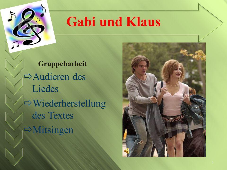 Gabi und Klaus Audieren des Liedes Wiederherstellung des Textes