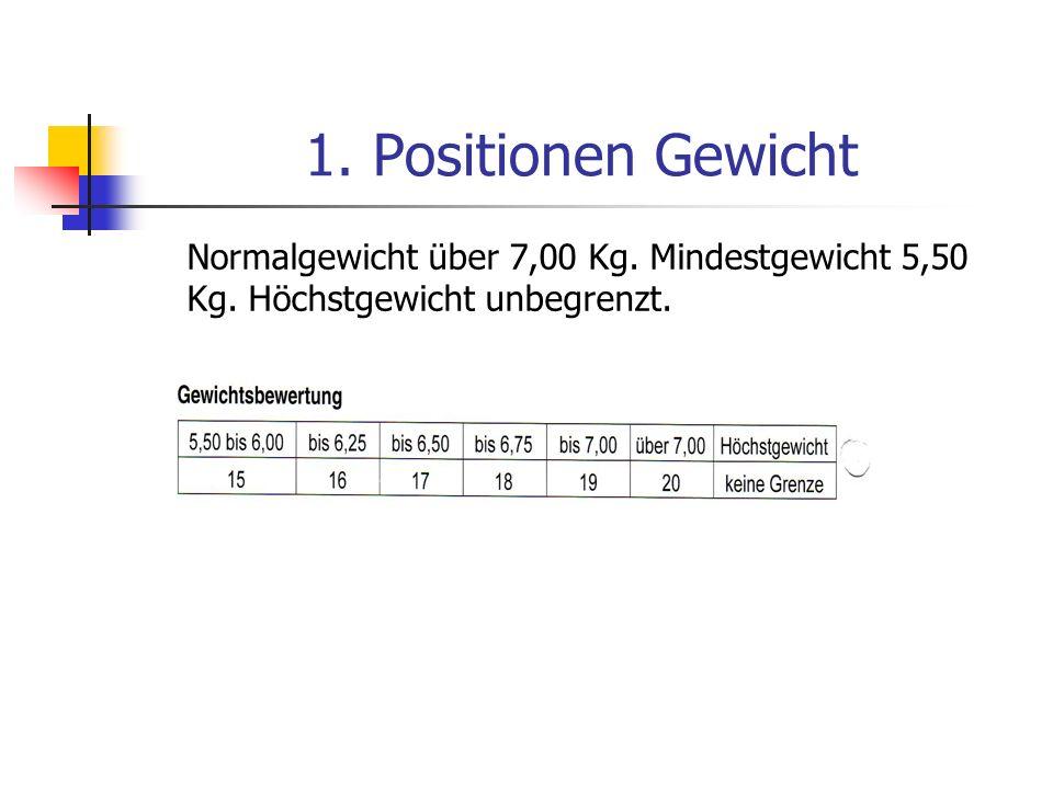 1. Positionen Gewicht Normalgewicht über 7,00 Kg. Mindestgewicht 5,50 Kg. Höchstgewicht unbegrenzt.