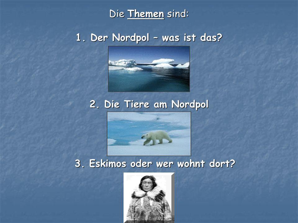 Die Themen sind: 1. Der Nordpol – was ist das. 2.