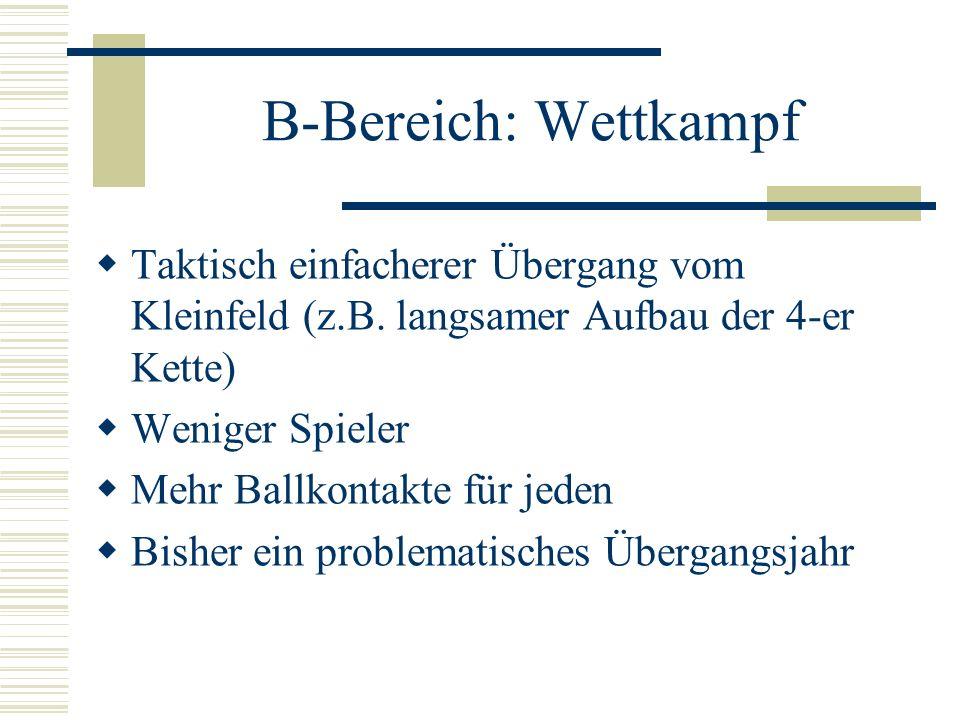 B-Bereich: Wettkampf Taktisch einfacherer Übergang vom Kleinfeld (z.B. langsamer Aufbau der 4-er Kette)