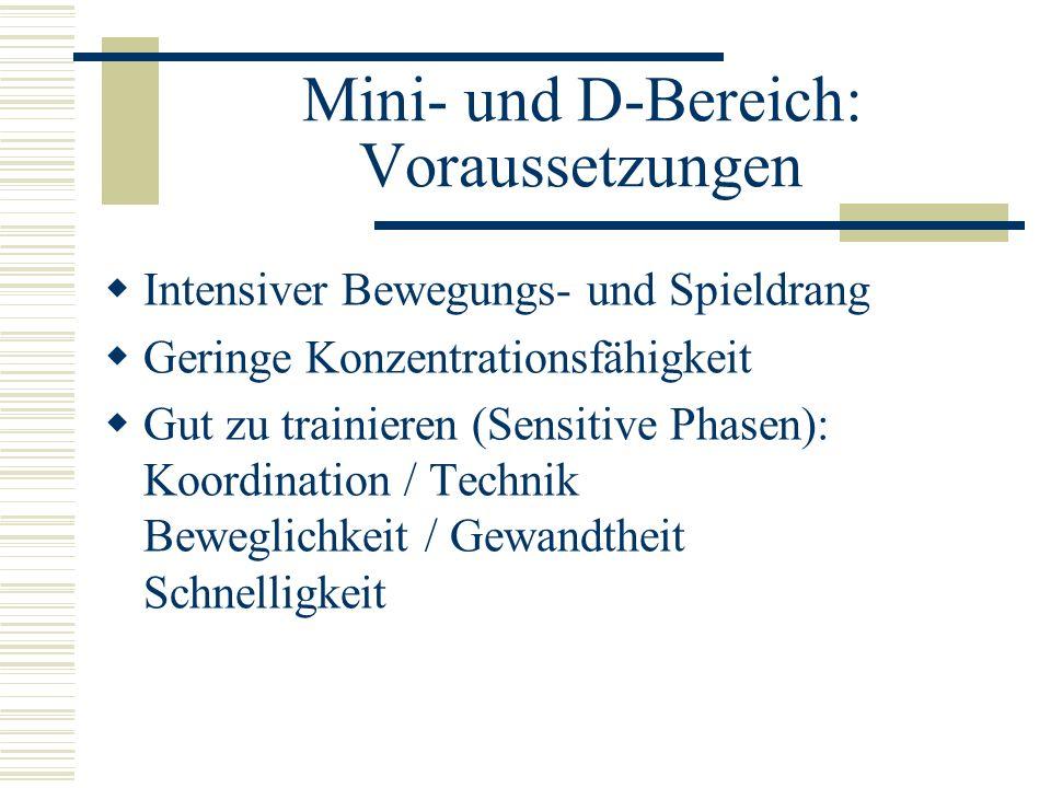 Mini- und D-Bereich: Voraussetzungen