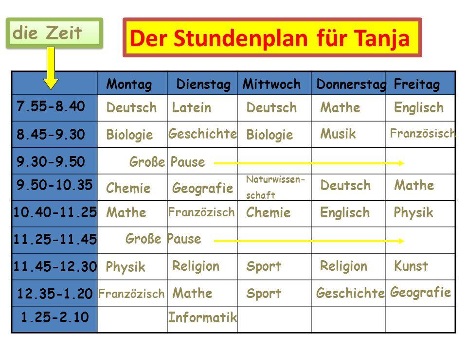 Der Stundenplan für Tanja