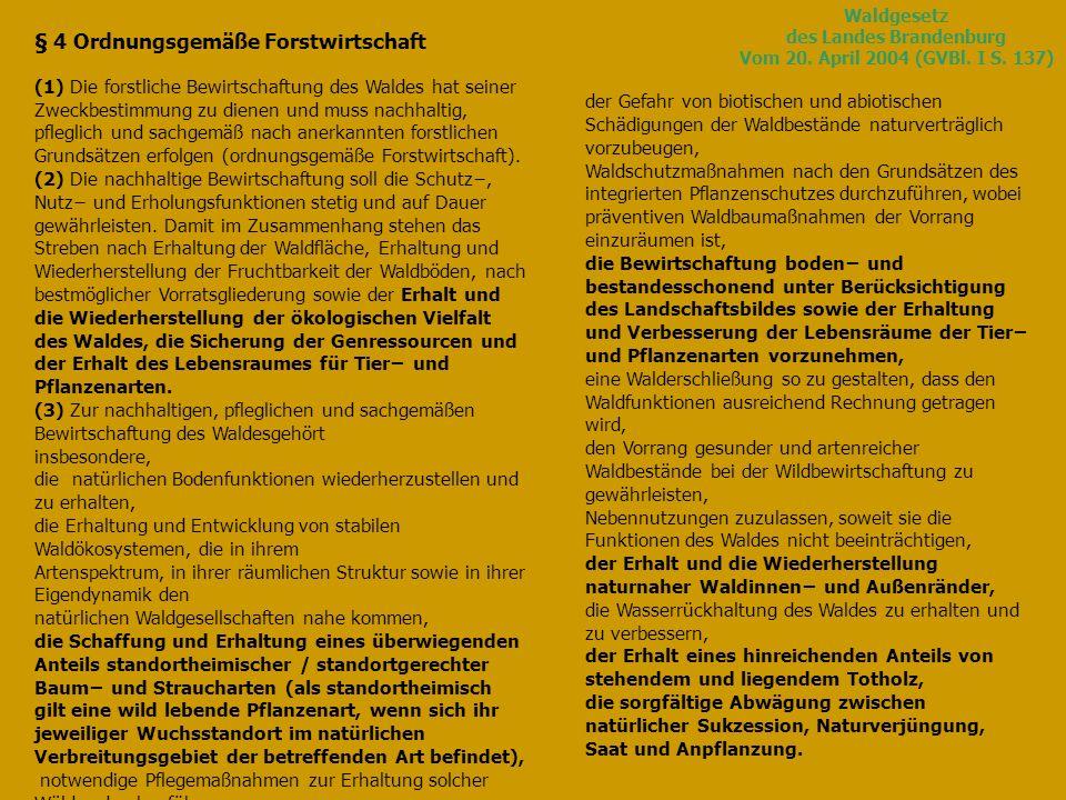 Waldgesetz des Landes Brandenburg Vom 20. April 2004 (GVBl. I S. 137)