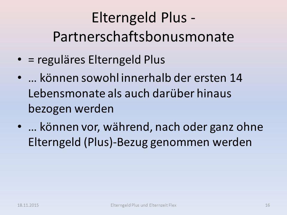 Elterngeld Plus - Partnerschaftsbonusmonate