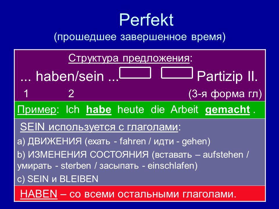 Perfekt (прошедшее завершенное время)