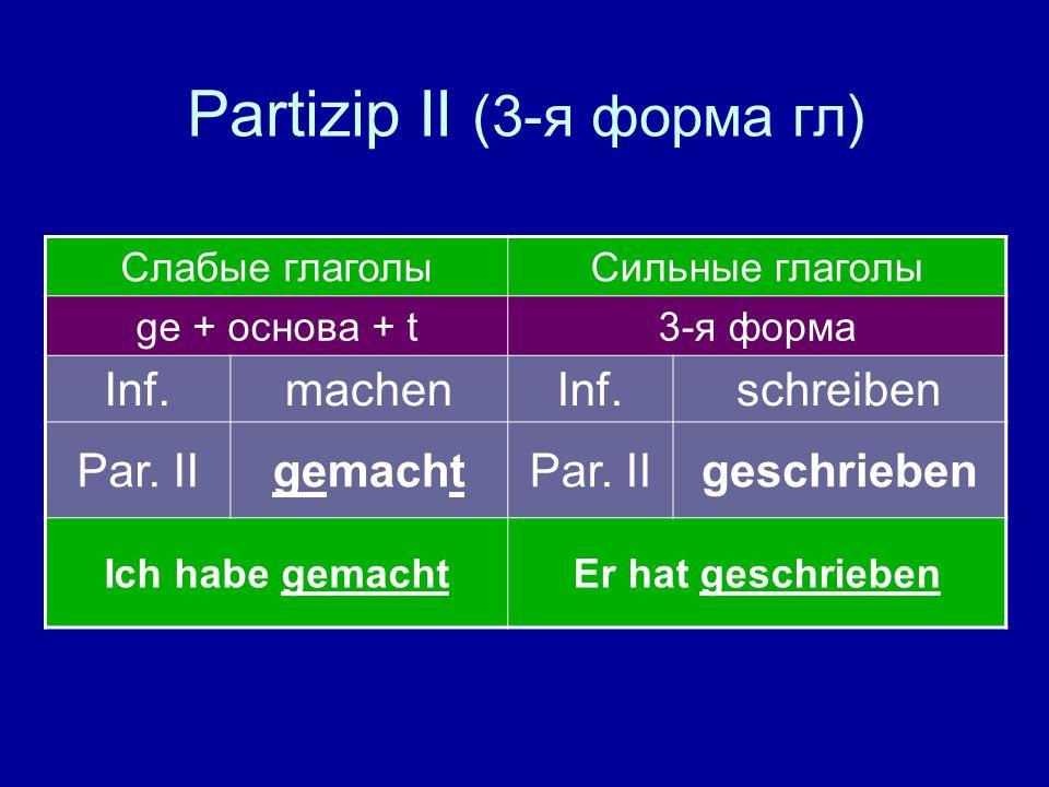 Partizip II (3-я форма гл)