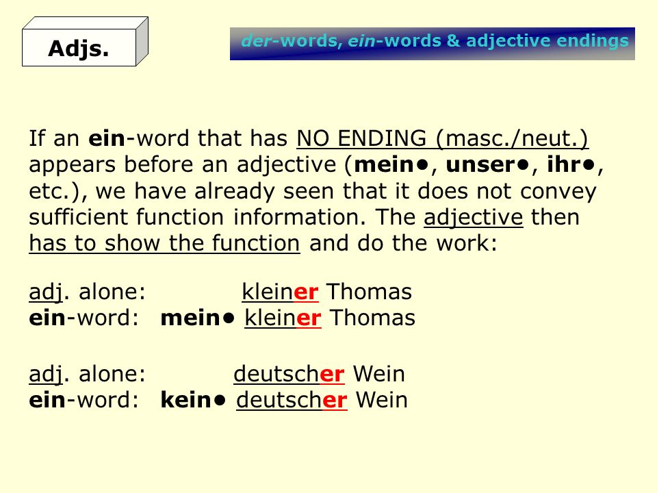 If an ein-word that has NO ENDING (masc./neut.)