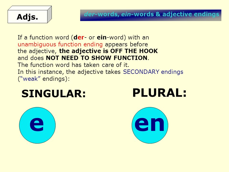 e en PLURAL: SINGULAR: Adjs. der-words, ein-words & adjective endings