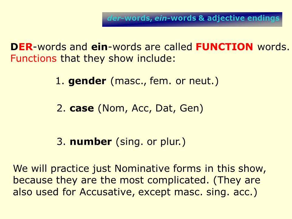 DER-words and ein-words are called FUNCTION words.
