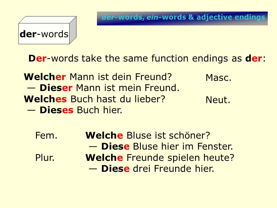Der-words take the same function endings as der:
