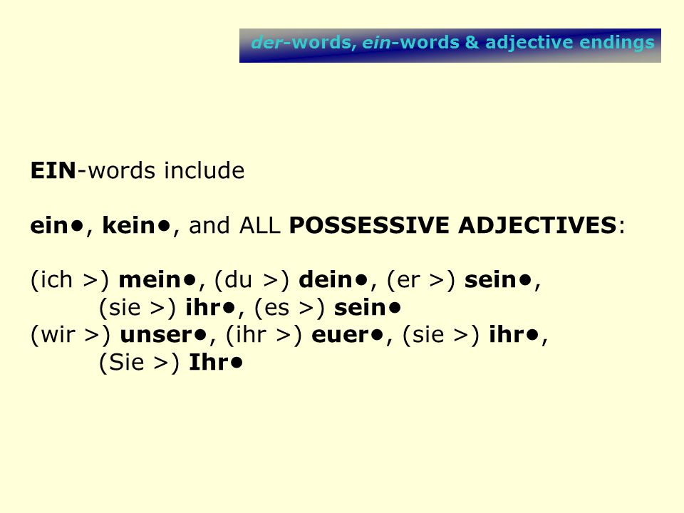 ein•, kein•, and ALL POSSESSIVE ADJECTIVES: