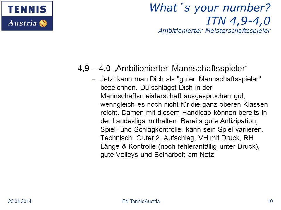 What´s your number ITN 4,9-4,0 Ambitionierter Meisterschaftsspieler