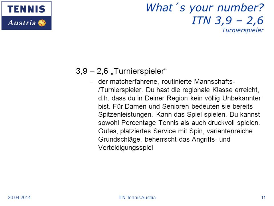 What´s your number ITN 3,9 – 2,6 Turnierspieler