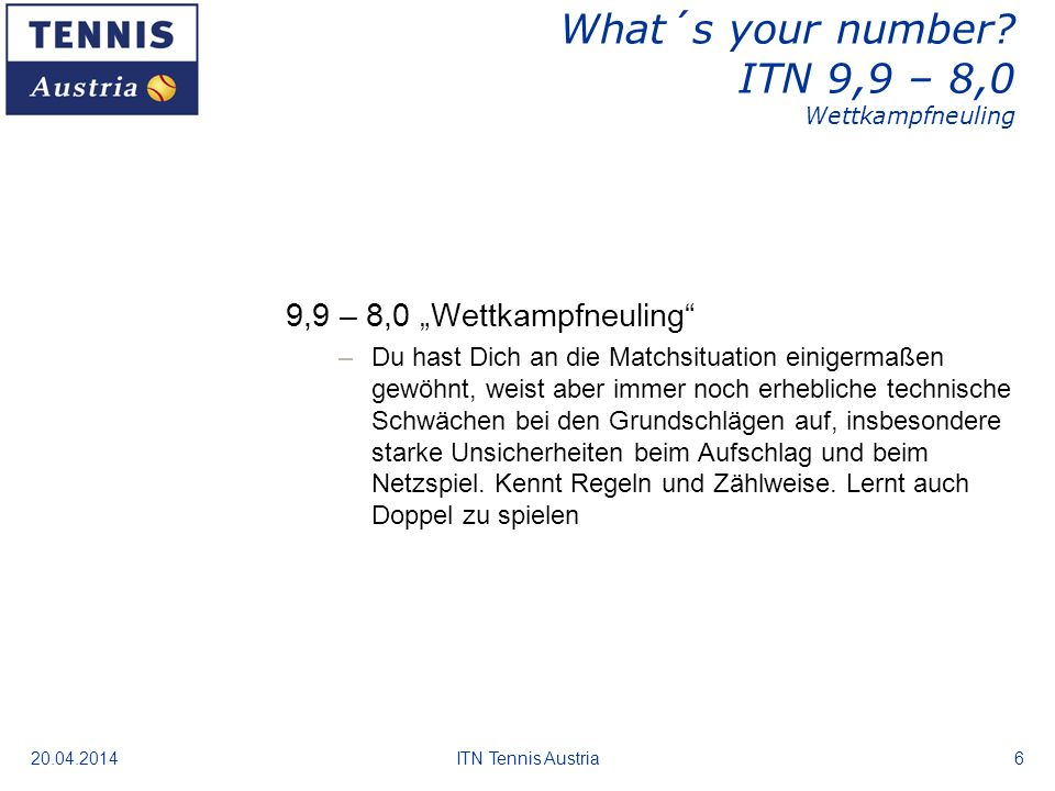 What´s your number ITN 9,9 – 8,0 Wettkampfneuling