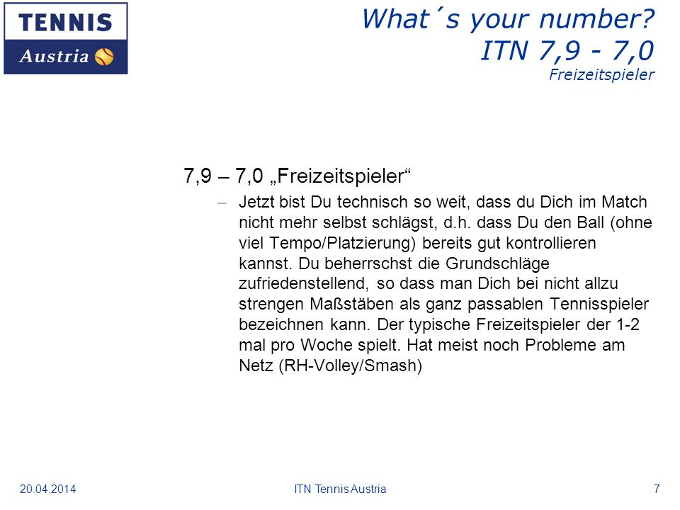 What´s your number ITN 7,9 - 7,0 Freizeitspieler