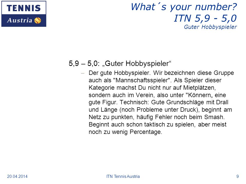 What´s your number ITN 5,9 - 5,0 Guter Hobbyspieler