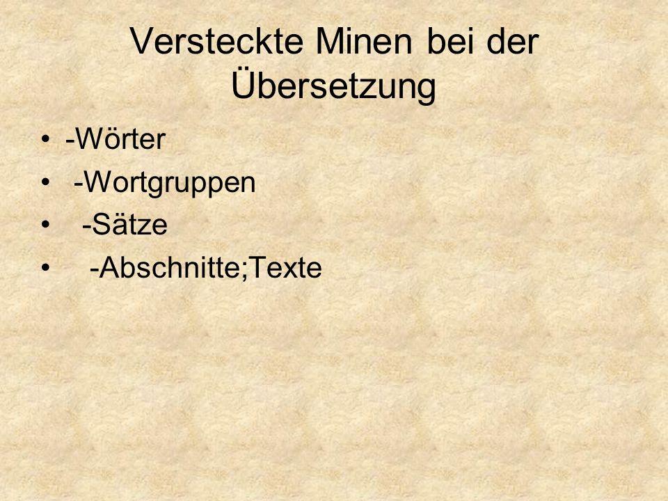 Versteckte Minen bei der Übersetzung