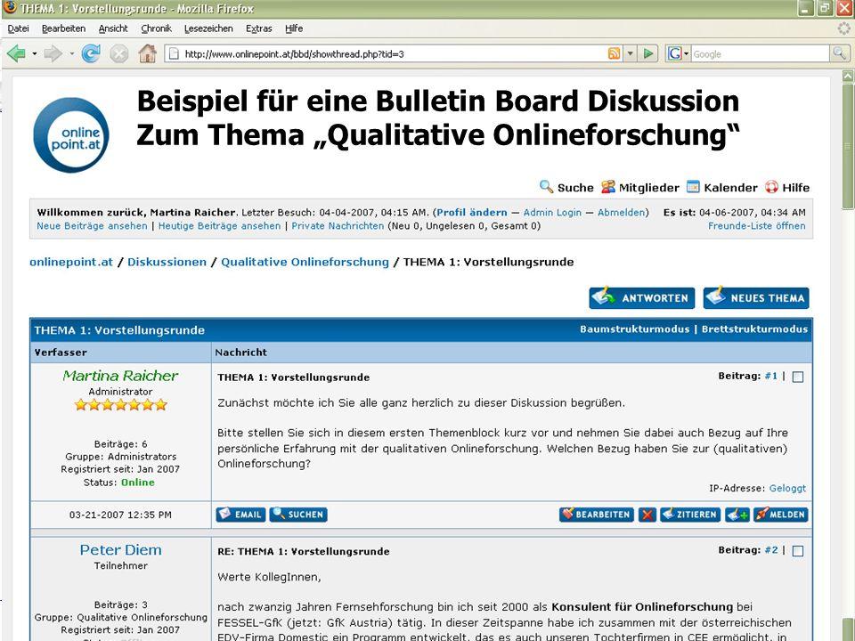 """Titel Folie Beispiel für eine Bulletin Board Diskussion Zum Thema """"Qualitative Onlineforschung"""
