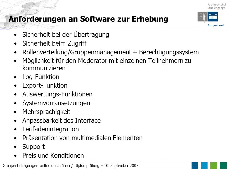 Anforderungen an Software zur Erhebung