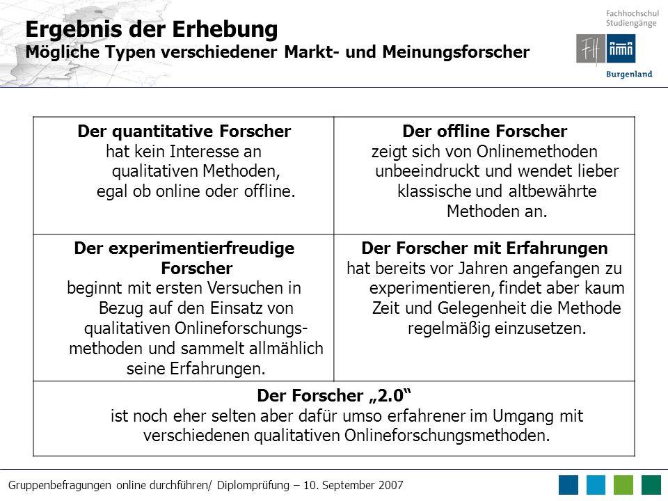 Ergebnis der Erhebung Mögliche Typen verschiedener Markt- und Meinungsforscher. Der quantitative Forscher.