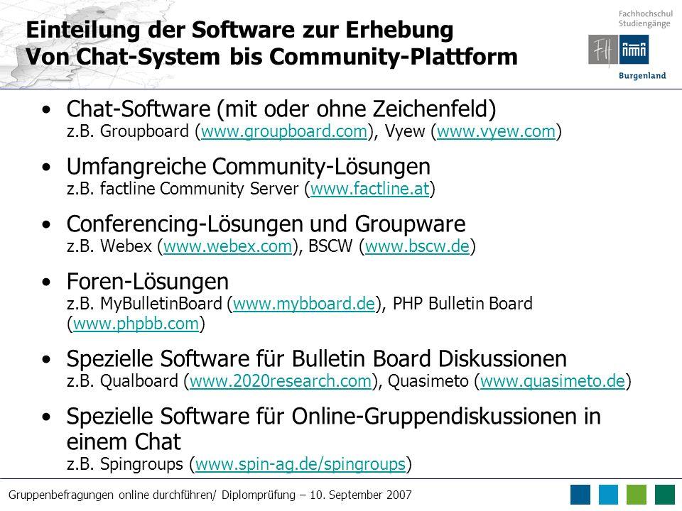 Einteilung der Software zur Erhebung