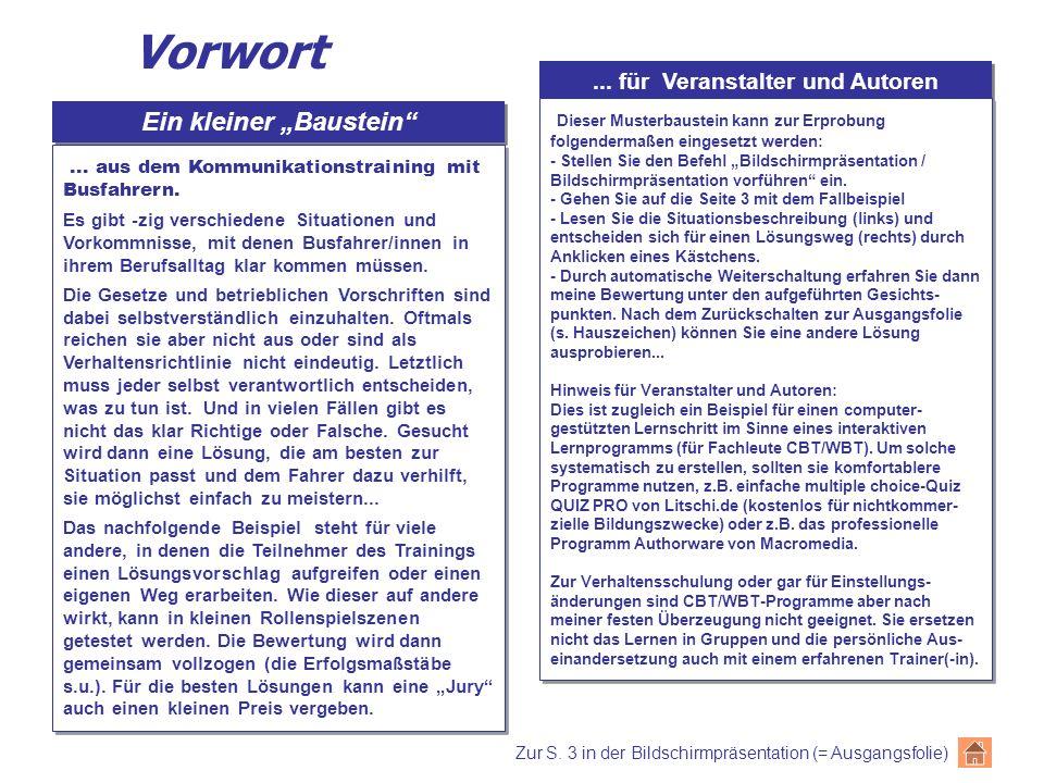 """... für Veranstalter und Autoren Ein kleiner """"Baustein"""