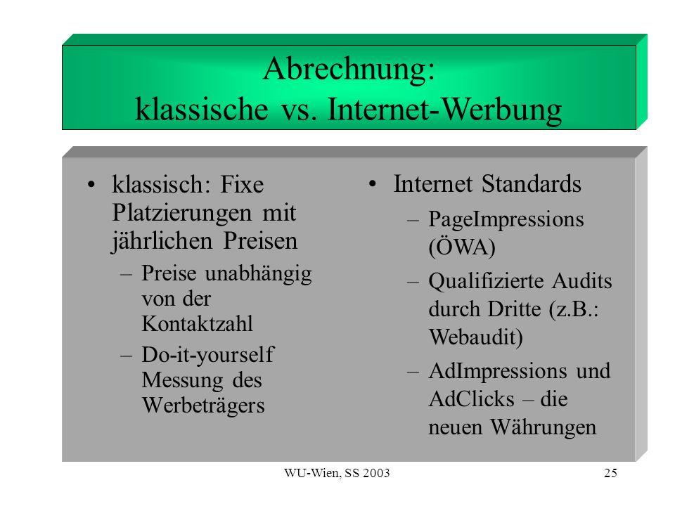 Abrechnung: klassische vs. Internet-Werbung