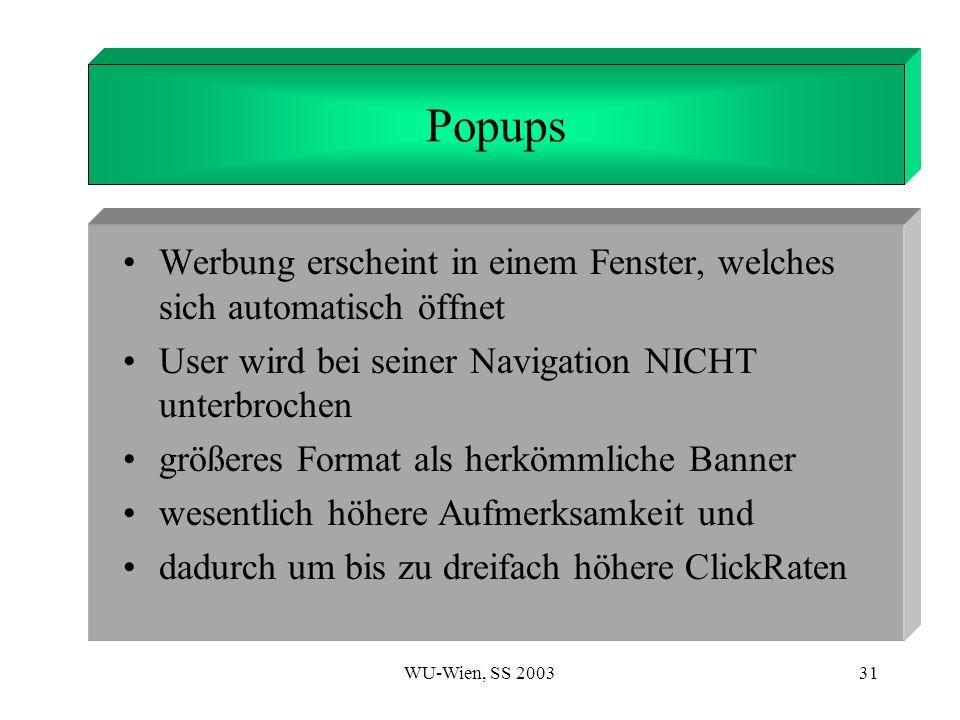 1. Introduction Popups. Werbung erscheint in einem Fenster, welches sich automatisch öffnet. User wird bei seiner Navigation NICHT unterbrochen.