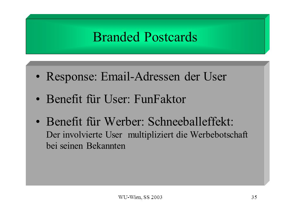 1. Introduction Branded Postcards Response:  -Adressen der User