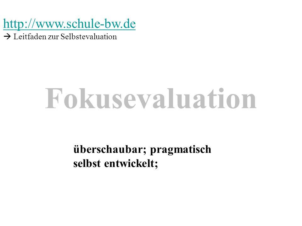 Fokusevaluation http://www.schule-bw.de überschaubar; pragmatisch