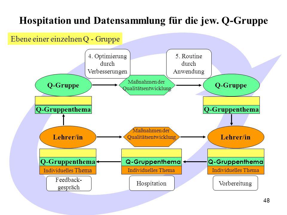Hospitation und Datensammlung für die jew. Q-Gruppe